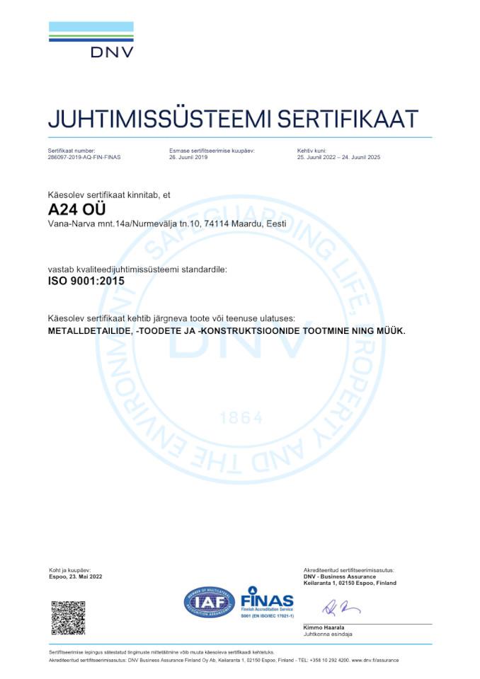 ISO 9001 Sertifikaat